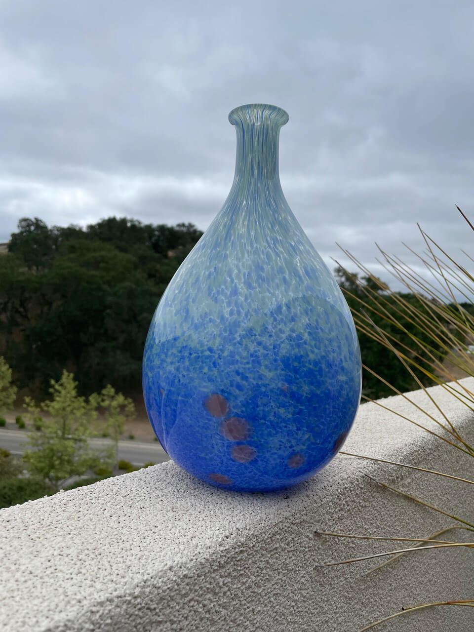Ombre Blue Glass Vase