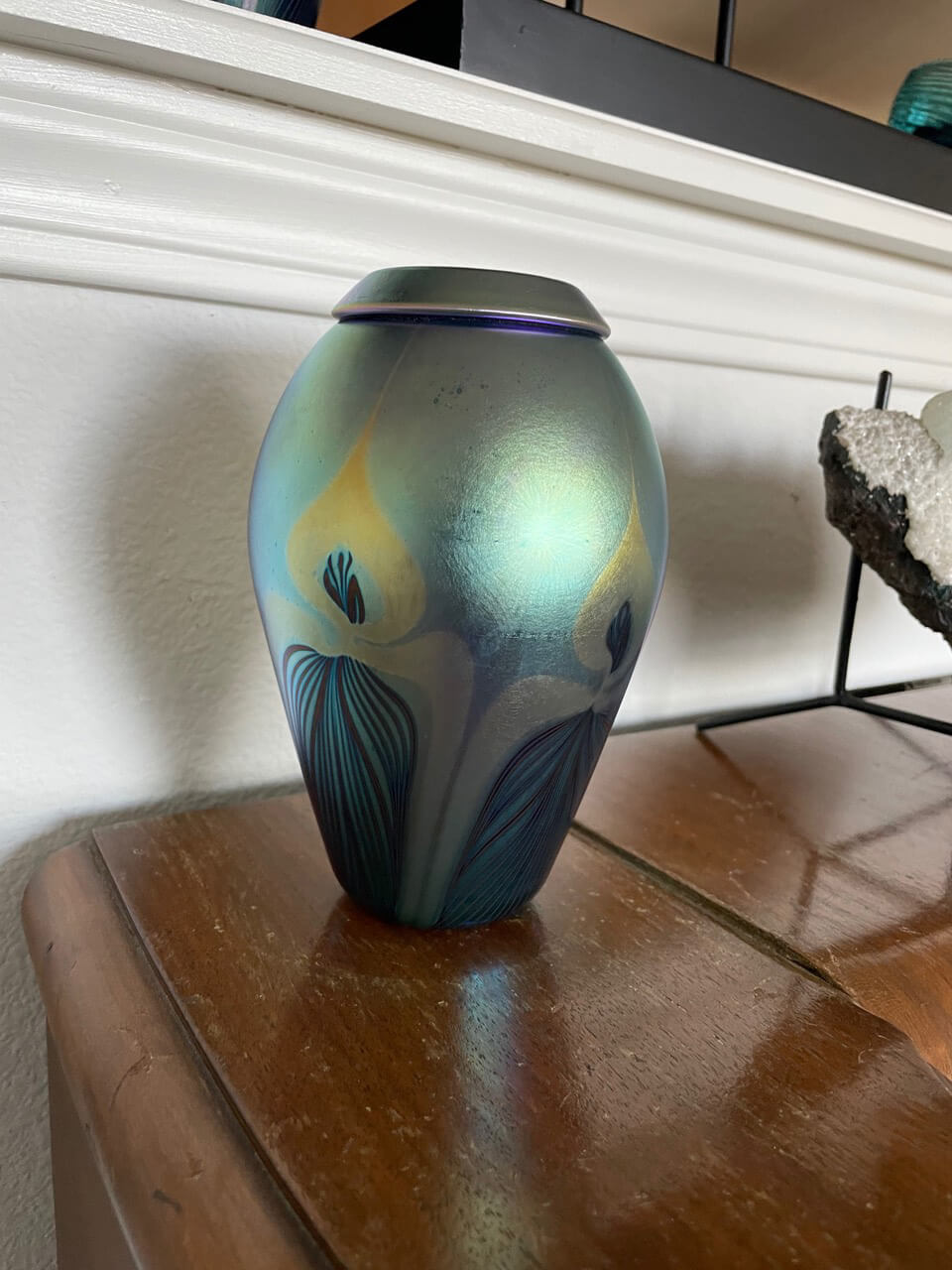 Signed, Hand-blown Glass Vase (Opalescent Green)
