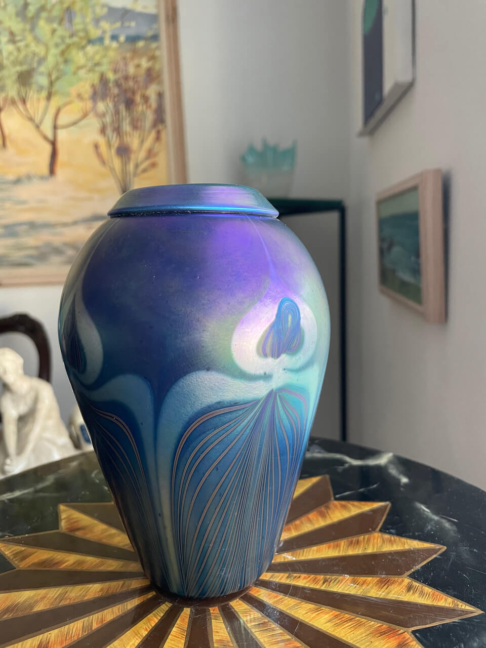 Signed, Hand-blown Glass Vase (Opalescent Violet)