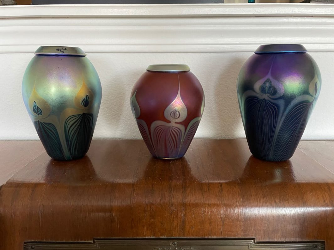 Signed, Hand-blown Glass Vases (Set of 3)